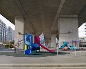 Urban playground underneath a bridge