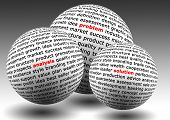 stock photo of solution problem  - balls with business words of problem analysis and solution - JPG