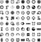 Big Black Clock Icons Set.eps