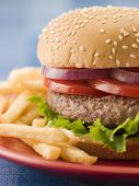 foto of bap  - Cheese Burger in a Sesame Seed Bun with Fries - JPG