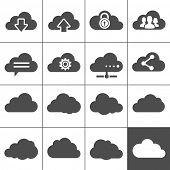 Cloud Computing Icons. Collection of cloud signs. Each icon is a single object (compound path)