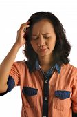 stock photo of dizziness  - Asian woman feel dizzy isolated over white background - JPG