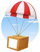 foto of parachute  - Illustration of a cartoon parachute holding and delivering cardboard box by air shipping with empty blank sign and sky background - JPG