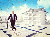 smiling businessman and 3d house with money rain