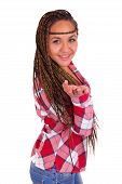 foto of hair integrations  - beautiful young African American woman with long black hair - JPG