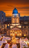 picture of dom  - christmas market at gendarmenmarkt berlin germany at sunset - JPG