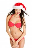 stock photo of brest  - Sexy santa helper in bikini - JPG