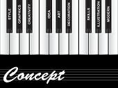High resolution concept or conceptual white concept text piano keys word cloud or tagcloud isolated