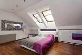 stock photo of home addition  - New bedroom with huge bed and purple additions - JPG