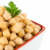 pic of bengal-gram  - Closeup of a bowl with boiled chickpeas on a white background - JPG