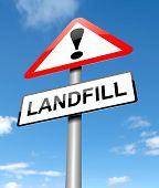 image of landfills  - Illustration depicting a sign with a landfill concept - JPG