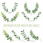 stock photo of laurel  - Watercolor vintage floral trendy set of wreaths and laurels - JPG