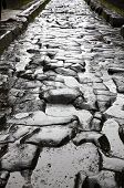 Paved Street At The Ancient Roman City Of Pompei