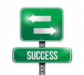 Success Road Sign Illustration