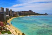 pic of waikiki  - Waikiki Beach and Diamond Head Crater on the Hawaiian island of Oahu