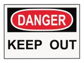 foto of osha  - OSHA danger keep out warning sign isolated on white - JPG
