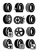 image of air pressure gauge  - vector black tyre icons set on gray - JPG