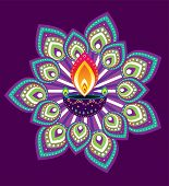 stock photo of kolam  - Indian style new year oil lamp pattern design - JPG