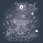 Funny hipster bear in flowers on chalkboard background in vector. Concept hipster card with bear, bi