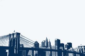 stock photo of brooklyn bridge  - An illustration of the Brooklyn Bridge and Lower Manhattan skyline - JPG
