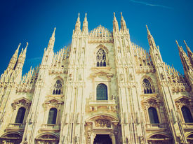 stock photo of domme  - Vintage looking Milan Cathedral  - JPG