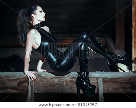 Sexy Dominatrix At Night Posing On Timber poster