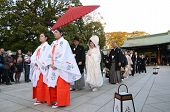 Tokyo,japan-nov 20 :a Japanese Wedding Ceremony At Shrine