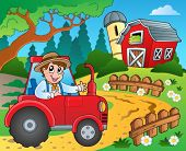 Farm theme with red barn 9 - eps10 vector illustration.