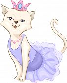 image of frilly  - Illustration of a Cute Cat Wearing a Frilly Dress and a Tiara - JPG
