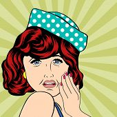 image of insulting  - Pop Art illustration of a sad woman vector illustration - JPG