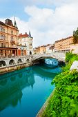 image of yugoslavia  - Ljubljanica river in Ljubljana capital of Slovenia - JPG