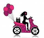 stock photo of vespa  - silhouette of a woman on a motorcycle driven by a gift and balloons - JPG