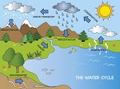 image of transpiration  - a illustration of funny cartoon water cycle - JPG