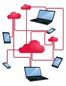 picture of handphone  - illustration of internet cloud networking within various gadgets - JPG