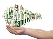 Concept or conceptual family education abstract word cloud, human man hand on white background