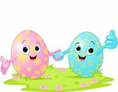 Two cute Easter Eggs holding hands