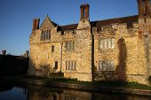 HEVER CASTLE AND GARDENS, KENT, UK - MARCH 10, 2014: Tudor house 13th century and moat