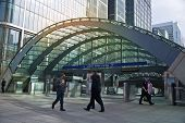 LONDON, UK - MARCH 10, 2014: Canary Wharf business aria with more than 100.000 working places. Tube