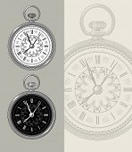 Pocket watch - clock face vector illustration. Highly detailed engraving.
