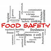 stock photo of e coli  - Food Safety Word Cloud Concept in red caps with great terms such as hazards e coli cooking and more - JPG