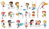 stock photo of ladies golf  - Illustration of the kids engaging in different sports on a white background - JPG