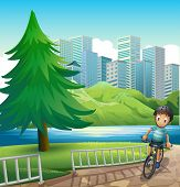 Illustration of a boy biking across the tall buildings near the river