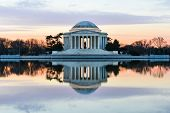stock photo of united we stand  - Jefferson Memorial at sunset   - JPG