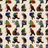 picture of gangsta  - seamless cartoon thief pattern background - JPG