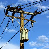 image of transformer  - Transformer and power lines on electric pole - JPG