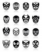 image of wrestling  - Vector icons set of masks worn during wrestling fights in Mexico isolated on white - JPG