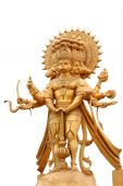 pic of hanuman  - Golden five faced  Hanuman statue against white background - JPG