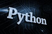 stock photo of pythons  - The word python against futuristic black and blue background - JPG