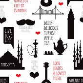 Seamless modern istanbul turkey hipster travel typography background pattern illustration design