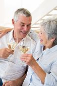 Senior couple sitting on couch having white wine at home in living room